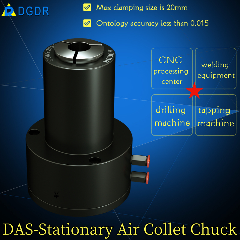 stationary air collet chuck DAS-20SS for tapping and drilling machine welding equipment pneumatic chuck Featured Image